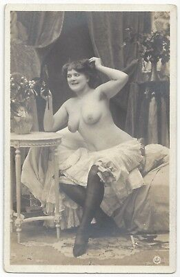 1910 French NUDE Photograph - Curvy w/ Underarm Hair, Jean Agelou