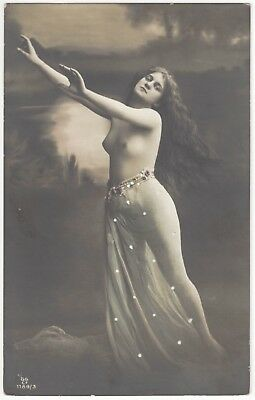 1910 French NUDE Photograph - Hand Colored, Youthful w/ Long Hair
