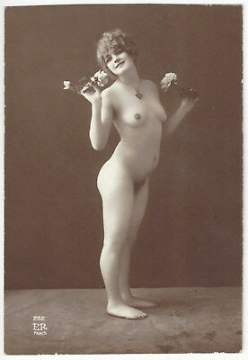 1920 French NUDE Photograph - Petite, Youthful, Frontal Blonde Holds Flowers