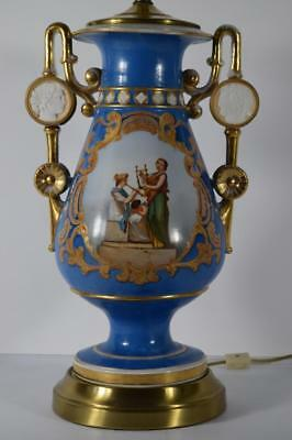19Th Century Old Paris Gold Gilt & Blue Hand Painted Porcelain Urn Turned Lamp