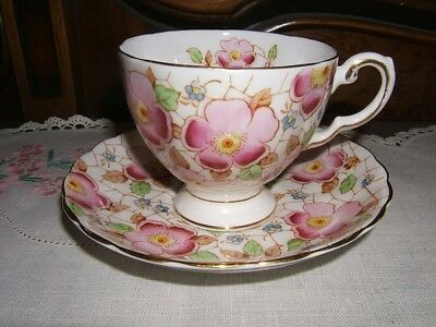 Tuscan Bone China Cup & Saucer ~ Wild Roses ~ Made in England