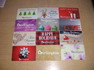 Burlington   12 different new collectible gift cards