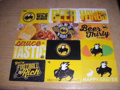 Buffalo Wild Wings   12 different new collectible gift cards