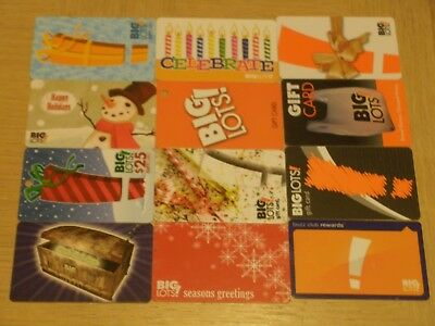 Big Lots   12 different new collectible gift cards