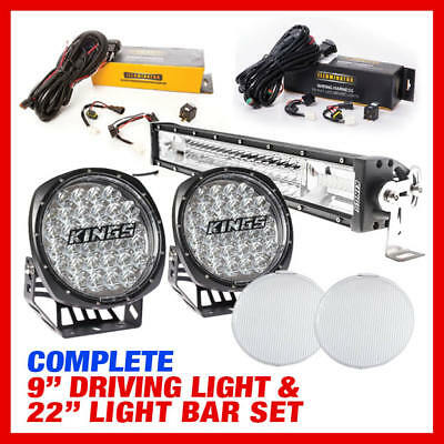 """Adventure Kings Complete 9"""" Driving Light & 22"""" Light Bar Set Harness Included"""