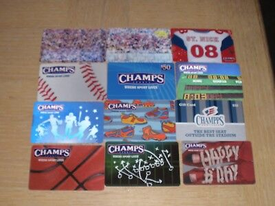 Champs Sports   12 different new and used collectible gift cards