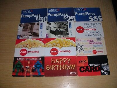 ARCO and AMC Theaters    12 different new and used collectible gift cards