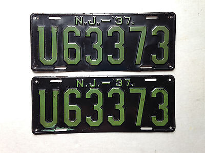 1937 New Jersey License Plates Original Pair And Paint