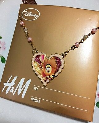Licensed Disney Bambi Love Heart Pendant Necklace Deer Pink Bead BNWT Cute