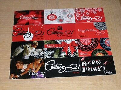 Century 21 Department Stores  12 different new and used collectible gift cards