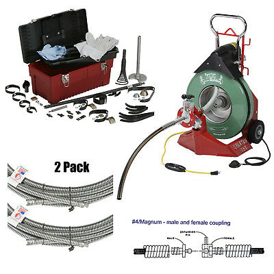 Spartan 1065 Drain Cleaner with Magnum .66 x 100' Cable, Tool Box and Cutter Kit