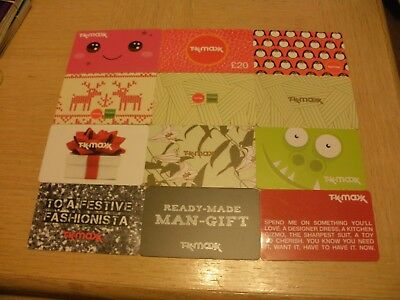 U K   T K Maxx  12 different new collectible gift cards