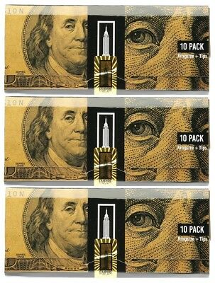 3x Packets Empire $100 Dollar Bill Premium Rolling Papers Benny - 10 Papers