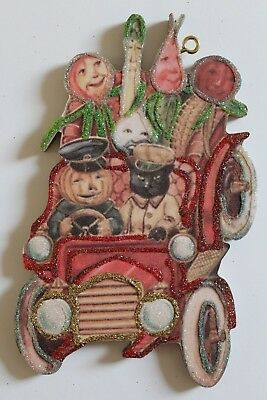 Anthropomorphic Veggie People * Halloween Ornament * Vtg Card Image * Glitter