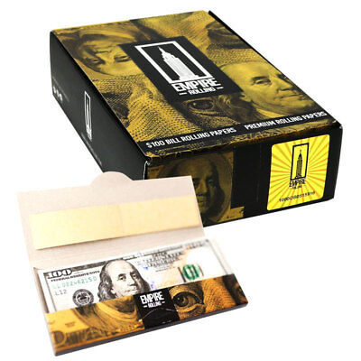 24x Packets (1 Box) Empire $100 Dollar Bill Premium Rolling Papers Rick Ross