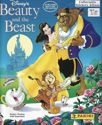 """Vintage Disney's """"Beauty And The Beast"""" Panini Sticker Book 100% Complete"""