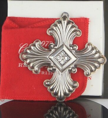 Designer Reed & Barton Sterling Silver 1973 Christmas Cross Ornament