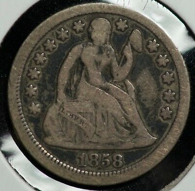 1858 Seated Liberty 10C Dime Coin