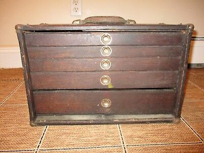 Antique Wood Mechanics Dental Medical Tool Chest 5 Drawer Tongue In Groove!