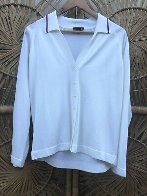 Vintage 1970's White Cardigan With Pinstriped Collar
