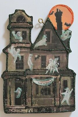 Ghost Party Haunted House * Halloween Ornament * Vtg Card Image * Glitter