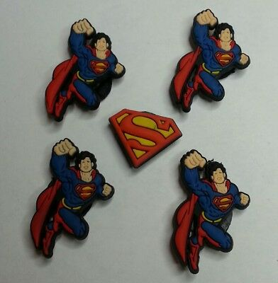 SuperMan LOGO 5pc SET SHOE CHARMS LOT FOR CROC SHOES JIBBITZ BRACELETS Superhero