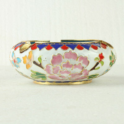 Chinese Cloisonne Handmade Flowers Ashtray JTL1068+a