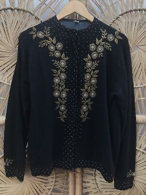 1950's Vintage Black Cardigan With Gold Beading