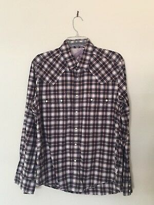 Barbour Men's Plaid Western Shirt Sz UK Medium US Small Fitted Steve McQueen