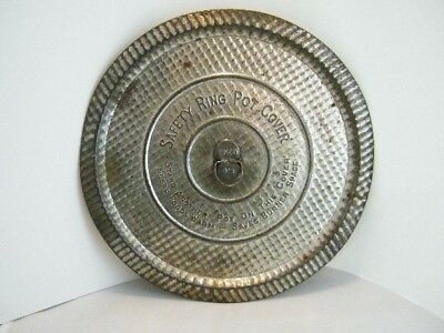 Vintage EKCO Safety Ring Pot Cover Round Metal Lid 9 1/2""