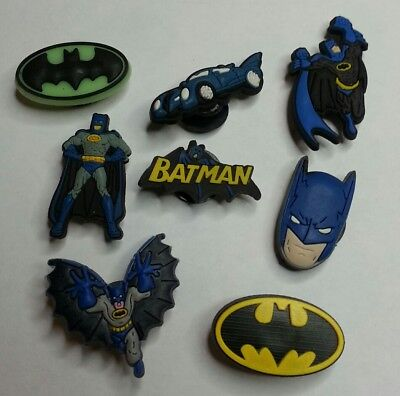 BatMan 8pc SHOE CHARMS LOT FOR CROC SHOES JIBBITZ BRACELETS Superhero Set