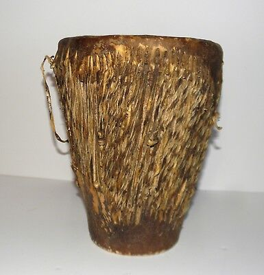 """Vintage 8½"""" Tribal African Primitive Animal Hide Covered Drum Used Rattle Ball"""