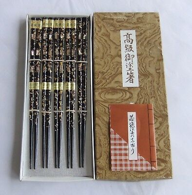 Set Of 5 Pair Japanese Chopstick With Good Inlaid Mother Of Pearl