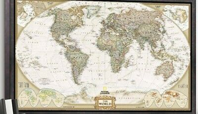 UNUSED VINTAGE LARGE World Wall Map PicClick - Large antique world map poster