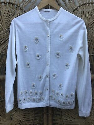 1960's Vintage White Cardigan with Beadwork and Embroidery