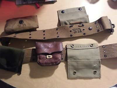 WW 2 Army Belt With Assortment of Pouches Western tent & awing