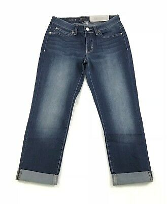 Jennifer Lopez Womens Capri Dark Denim Sz 2 Mid Rise 401 Stretch Delilah (E5)