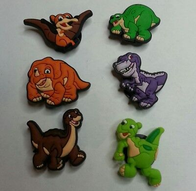 The LAND BEFORE TIME 6pc Dinosaur SHOE CHARM LOT FOR CROC SHOES JIBBITZ BRACELET
