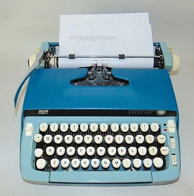 Vtg 1960's SMITH CORONA Two Tone STERLING Typewriter BLUE In Case WORKS GREAT!