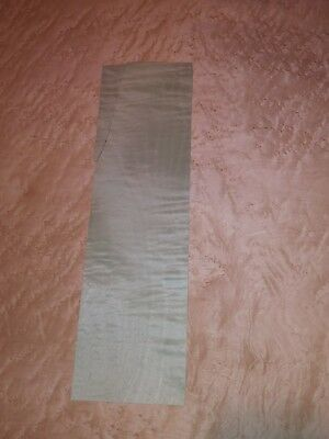 "1 dyed light blue green curly raw wood veneer 14 1/2"" x 4"""