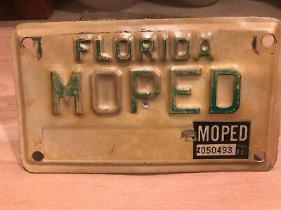vintage FLORIDA  MOPED license plate.  CUSTOMIZED