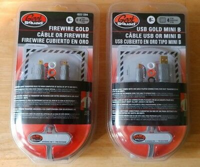 GeekSquad Firewire Gold and USB to USB mini 6 ft cables. Best Buy Brand new!