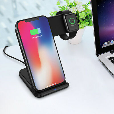 2in1 10W Qi Wireless Fast Charger Holder Stand for Apple Watch iPhone8 X