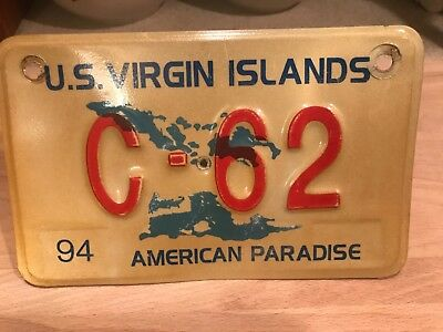 vintage Virgin Islands motorcycle license plate.