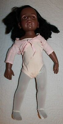 "GOTZ 19"" Doll African American Vinyl  Real Eye Lashes Poseable 722"