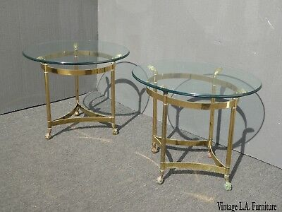 Pair Vintage French Provincial Brass End Tables ~ One Round Other is Oval AS-IS