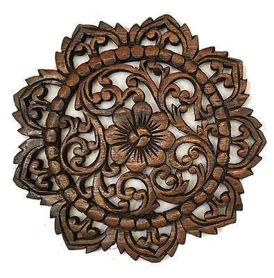 ROUND WOOD CARVED Floral Wall Art. Decorative Asian Wood Wall Plaque ...