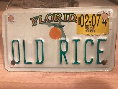vintage FLORIDA motorcycle license plate.  CUSTOMIZED. OLD RICE , one of a kind