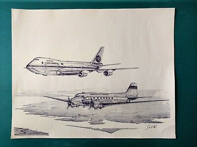 Rare 1992 Poster Print of Pen/Ink Drawing of Old/New Continental Aircraft 16x20