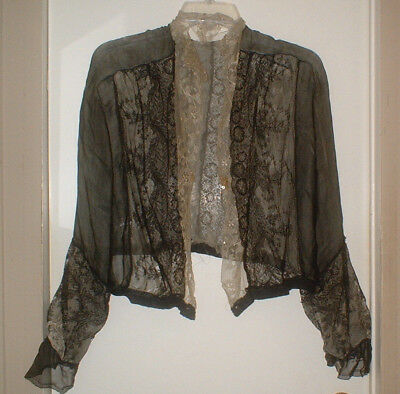 "Antique 1800S Victorian Bed Jacket Day Jacket Silk Lace & Net Boudoir ""as Is"""